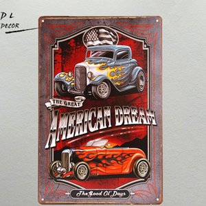 DL- American Dream TIN SIGN Hotrod vintage Car Metal poster print Garage shabby chic Wall Decor Bar Diner home decor