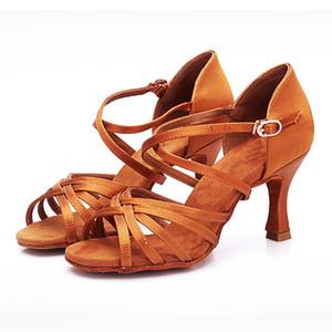 BDS211 Hot vente talon 7.5 / 5.5cm en satin de soie Latin Ballroom BD Danse latine Chaussures Femmes chaussures de danse 201017