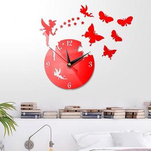 New Wall Clocks 3D DIY Clock Mirror Stickers Home Decoration Living Room Quartz Needle Self Adhesive Hanging Watch
