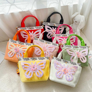 Kids Mini Clutch Purse 2020 Cute Butterfly Crossbody Bags for Baby Girls Small Plush Coin Wallet Todder Hand Bags Gift
