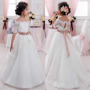 Off the Shoulder Cute Flower Girl Dresses for Wedding Vintage Lace with Coral Bow Belt Princess Lace-Up Kids Communion Dresses