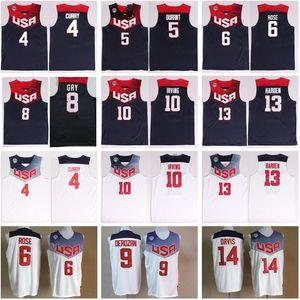 2014 EUA Basketball Jerseys Team Eleven 4 Stephen Curry 5 Thompson 6 Derrick Rose 10 Kyrie Irving James Harden Kevin Durant National