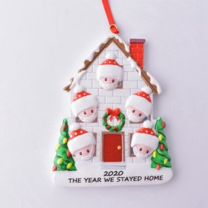 Christmas Ornament Personalized Survivor Family 2 3 4 5 Resin Decorations Masked DIY Christmas Tree Hanging Gift Pendant Sea Shipping DDA669