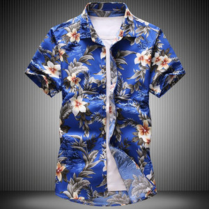 2021 Camicie estive Fashion New Mens Casual Boutique Sleeve a manica corta Camicia floreale / Maschile Beach Flower Print Shirts