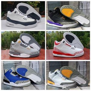 3 3s Cool Grey 2020 New Men Basketball shoes Denim Fire Red Laser Orange Varsity Royal Court Purple Sports Trainers