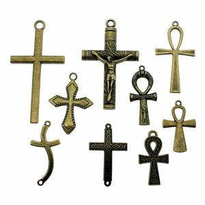Charme-großes Kreuz Bronze Farbe Große Kreuz-Charme-Anhänger Schmuck Ankh Kreuz-Charme für Schmucksachen, die sqcSpk new_dhbest