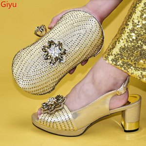 doershow gold shoes and bag matching set italy 2020 designs for african shoes and bags wedding party free shipping!HVV1-7