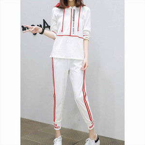 MISSKY 2pcs set Women Summer Sets Sports Suit Middle Sleeve Hoodies Matching Trousers Female Clothes