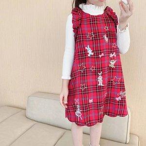 많은 아기 유아 여자 스커트 어린이 체리 프릴 옷 면화 1-7t 실비아 어린이 의류