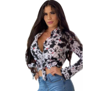European and American Shirt Printing Women's Blouses Urban Casual Single-breasted Long-sleeved Printed Top Fashion Size S-2XL
