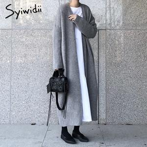 syiwidii nuevas mujeres chaqueta larga de las señoras elegantes de punto de canalé sueltos suéteres de gran tamaño largo manera otoño e invierno abrigo 201012