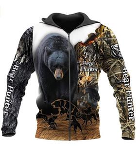 Bear hunting 3D Printed Mens Hoodie Harajuku Streetwear autumn hoodies Sweatshirt Unisex Casual Jacket Tracksuits