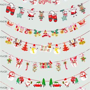 Tire de Navidad de la Navidad Bunting Banderas Banderas de Navidad Decoración para el hogar al aire libre Jardín tienda partido de Navidad del indicador de la bandera Tirando decoración EEC2712