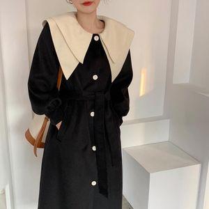 Snordic donne rappezzatura lungo sottile di lana del rivestimento del cappotto cintura a doppio strato collare cappotto di lana del manicotto di soffio della tuta sportiva