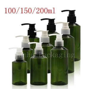100ml 150ml 200ml Green Lotion Pump Plastic Bottles , Dispenser Liquid Soap Cosmetics Container For Shampoo Shower Gel 50pc lot