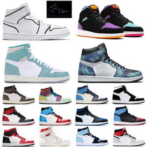 nike air jordan retro 1 travis scott 1 jumpman 1 1s chaussures de basket Shattered Backrest Red Obsidian mens femmes formateurs baskets de sport