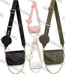 M56461 M5646 WAVE MULTI-POCHETTE women Chain wide strap Round Coin Purse calf leather mini pochettes wallet crossbody handbag shouler bag