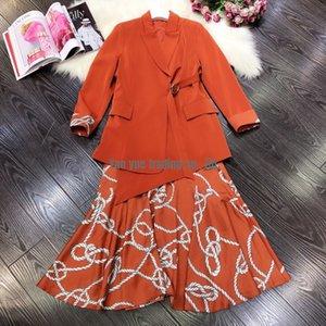 Designer luxury ladies irregular acetate satin suit jacket+mid-length printed A-line suspender dress suit skirt brand intellectual girl sui