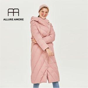 Allure Amore Kadınlar Beyaz Ördek Aşağı Ceket Rüzgar Geçirmez Kapitone Ceket Stand-up Yaka Kapşonlu Parka Hafif Kirpon Kıyafetleri Y201026