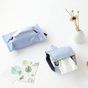 Hängende Papierhandtuchaufbewahrungstasche Fest Farbe Leinen Autotoilettenpapier Serviette Box Multifunktionales Tisch Tissue Box