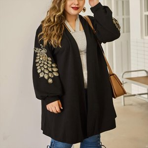 Autumn large size womens sweater 4XL 5XL 6XL 7XL 8XL fashion peacock embroidery knit cardigan Pure color thin coat bust 138CM