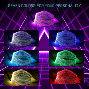 Красочного огни LED Face Mask Unisex Конструкторы маска для лица многоразового дышащего Night Light Up Световой маска USB зарядного Рождество клуб OWA1648