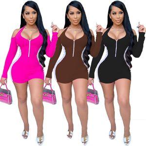 Women Color Patchwork Bodycon Mini Dress Autumn Winter Zipper V Neck Halter Off Shoulder Long Sleeve Club Dresses