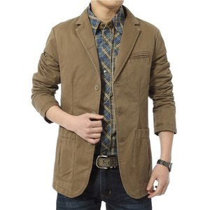 Blazer Men Casual Blazers Algodón Denim Parka Slim Fit Jackets Army Green Khaki Tamaño grande M-XXXL 4XL Outdoors Outwear Abrigo Y200930