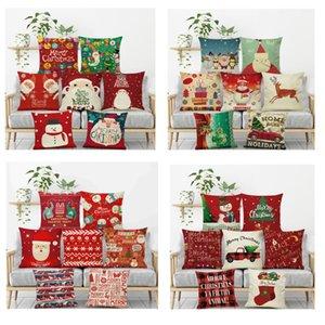 Noel Yastık Kılıfı Keten Atma Yastık Noel Yastık Kapak İçin Noel Baba Ren Geyiği Baykuş Ağacı Elk Ayı Kedi Köpek Ev Yastık kılıfı HH7-110