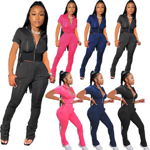Spring and summer women's solid color fashion V neck sports leisure short sleeve trousers Two-piece sets 2021 New Outfits Slim Tracksuit