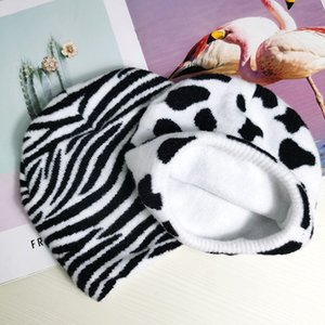 New cow knitted autumn winter warm pullover men's and women's Ski Plush zebra Hat fashion