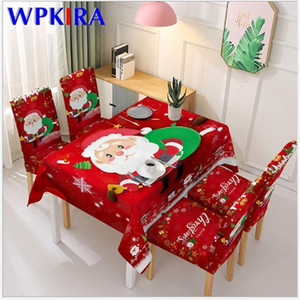 Elastic Table Cloths Rectangular Santa Claus Tablecloth Waterproof Oilcloth Dining Desk Cover Cloth Christmas Decora ZB-AD517 201007