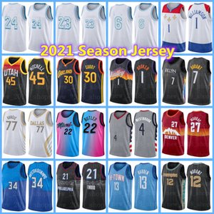 Kevin 7 Durant Luka Jimmy Doncic Butler Jersey Donovan Anthony Mitchell Antetokounmpo Edwards Williamson Lillard Harden Curry Tatum Jerseys