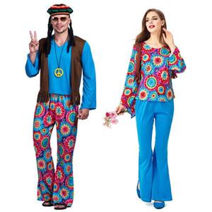 Umorden 성인 레트로 60 년대 70 년대 히피 사랑 평화 의상 코스프레 여성 남성 커플 할로윈 푸림 파티 의상 멋진 드레스