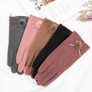 2020 New Fashion Women Gloves thick fur ball Winter Warm Full Finge Mittens Touch Screen Outdoor Sport Driving Gloves