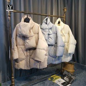 Ly Varey Lin 2020 Yeni Kış Eşarp Kısa Coats Kore Stil Oversize Batwing Sleeve Katı Kalınlaşmak Aşağı ceketler Isınma Cepler