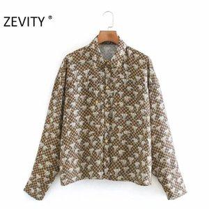 Zevity Kadınlar Moda Zarif Baskı Nokta Casual Gevşek Önlük Bluz Ofisi Bayanlar Uzun Kollu Roupas Femininas Gömlek LS7256 Tops
