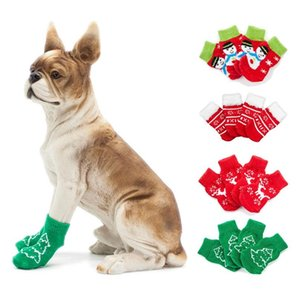 4pcs set Small Pet Dog Shoes Anti-slip Knit Patterns Soft Warm Knitted Socks Clothes Apparels For Small Medium La wmtmwT