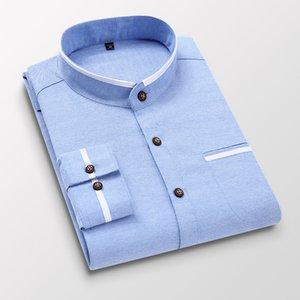 Men Shirt Long Sleeve Stand Oxford Business Dress Casual Shirts Slim Fit Brand Weeding Shirt White Blue Man Shirt 5XL DS414 201020