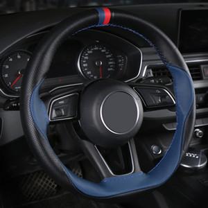 DIY Hand Stitched Car Steering Wheel Cover Leather For Kia Rio Morning Stinger Niro For Kia Cerato Sorento Stonic Soul Sportage