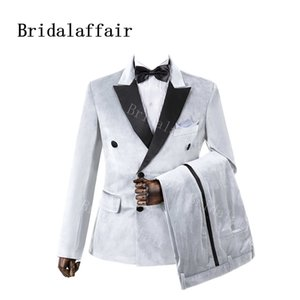 Bridalaffair 2 Parça Yeşil Kadife Düğün Groomsmen Smokin Siyah Zirve Yaka Slim Fit Custom Made Akşam Parti Erkekler 201124 Suits