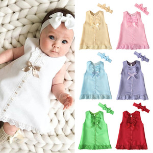 Wholesale 7Colors INS Baby Toddler Girls Dresses with Hairbands 2pieces Suits Summer Sleeveless Lace Designer Princess Dresses