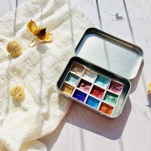 Handmade 12Color Glitter Water Color Set Acuarelas Metallic Gold aquarela Pigment Paint Artist Painting Watercolors Art Supplies Q1107
