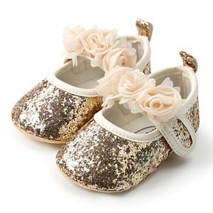 WeixinBuy Mode Pailletten Spitze Blume Baby Mädchen Schuhe Anti-Rutsch Weiche Sohle Bottom Walking Prinzessin Schuhe