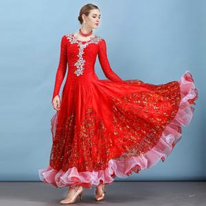 Red ballroom dress waltz dance wear modern dance dress ballroom competition dresses fringe standard social tango