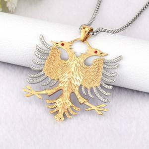 Soite Albânia Bandeira Eagle Pingentes Russo Emblema Colar Brasão de Armas Double Headed Eagle Aço Inoxidável Pingentes Cadeia Y1220