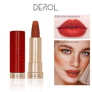 DEROL Velvet Lip Batom Matte Lipstick Waterproof Long Lasting Nude Lip Stick Makeup Sexy Red Lips Gloss 0252
