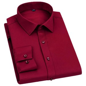 AOLIWEN brand men 2020 spring and autumn red stretch long sleeve dress shirt breathable anti crease soft and cool slim fit shirt