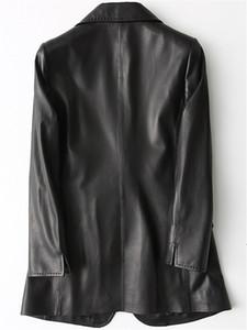 Nerazzurri Black pu leather blazer women long sleeve single button Plus size outerwear Spring leather jacket Women fashion 201120