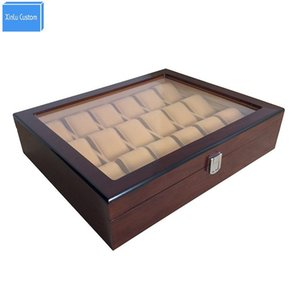 Cajas de relojes Cajas 18 Slots Grid Woodacrylic Window Jewelry Relojes Mostrar Caso de almacenamiento Bloqueo WBG1006 Fábrica de envases de China May Customzi